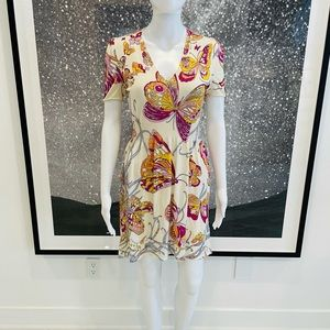 Emilio Pucci Butterfly Print Silk Dress